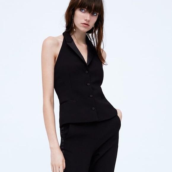 66b19346 NWT Zara Black Halter Neck Tuxedo Vest Top NWT